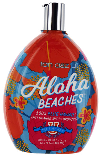 Aloha Beaches Tanning Lotion with 300X Blue Hawaii Bronzing by Tan Asz U 13.5oz