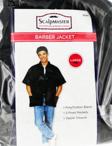 Black Barber Jacket with Two Pockets by Scalpmaster. Large.