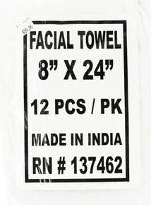 """1 Package of 12 White Cotton Facial Towels. 8"""" X 24"""" by Budget"""