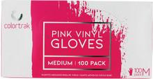 Pink Vinyl Gloves, medium , 100 Pack by Colortrak