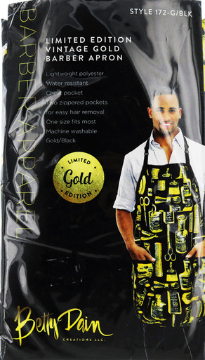 Gold and Black Vintage Barber Apron by Betty Dain