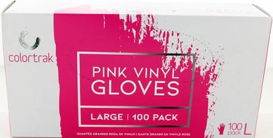 Pink Vinyl Gloves, Large , 100 Pack by Colortrak