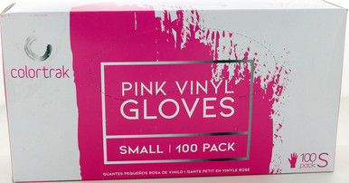 Pink Vinyl Gloves, Small , 100 Pack by Colortrak