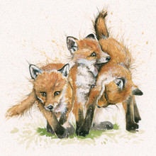 Fox cubs, hand-embellished limited edition print y Kay Johns