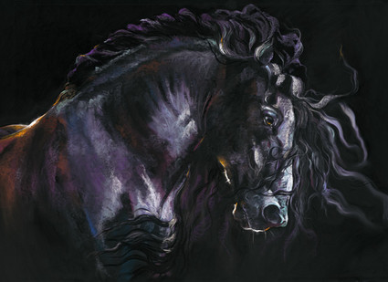 Friesian horse artwork by Kay Johns