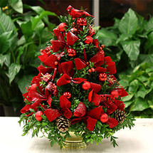 Christmas Cardinal Boxwood Tree