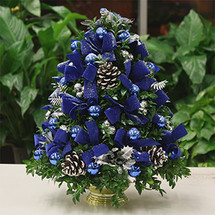 Festive Bluebird Boxwood Tree