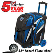 """This KR Cruiser Smooth Double Roller Royal/White/Black has many features to offer bowlers! If you're looking for a bag that can hold two pairs of shoes in a separate compartment, then this bag is for you!  Royal/White/BlackWheels: Color coordinated 4.5"""" Smooth KRuze urethane wheels provide a quiet and smooth ride.Shoe Compartment: Separate shoe compartment with room for 2 pairs of shoes.Accessory Pocket: 1 large side pocket.Interior: Velcro retaining straps keep bowling balls secure.Handle: Retractable square color coordinated locking handle extends to 36""""Fabric: 600DDimensions: 11""""W x 19""""D x 23""""HWarranty: 5 year manufacturer's limited warranty"""
