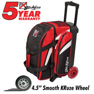 """The KR Cruiser Smooth Double Roller Red/White/Black bowling bag has quality features to offer any bowler. It has 4.5"""" Smooth KRuze wheels that give it an ultra quiet and smooth roll, as well as a large shoe compartment that can hold up to two pairs of shoes. Those are just a few of the many attributes this bowling bag has to offer.  Color: Red/White/BlackWheels: Color coordinated 4.5"""" Smooth KRuze urethane wheels provide a quiet and smooth ride.Shoe Compartment: Separate shoe compartment with room for 2 pairs of shoes.Accessory Pocket: 1 large side pocket.Interior: Velcro retaining straps keep bowling balls secure.Handle: Retractable square color coordinated locking handle extends to 36""""Fabric: 600DDimensions: 11""""W x 19""""D x 23""""HWarranty: 5 year manufacturer's limited warranty"""