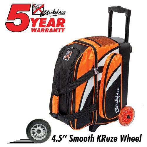 """The KR Cruiser Smooth Double Roller Orange/White/Black has multiple features to provide the bowler. Its 4.5"""" wheels ensure a quiet and smooth roll, and it features a separate shoe compartment that can hold 2 pairs of shoes. Wow!  Color: Orange/White/BlackWheels: Color coordinated 4.5"""" Smooth KRuze urethane wheels provide a quiet and smooth ride.Shoe Compartment: Separate shoe compartment with room for 2 pairs of shoes.Accessory Pocket: 1 large side pocket.Interior: Velcro retaining straps keep bowling balls secure.Handle: Retractable square color coordinated locking handle extends to 36""""Fabric: 600DDimensions: 11""""W x 19""""D x 23""""HWarranty: 5 year manufacturer's limited warranty"""
