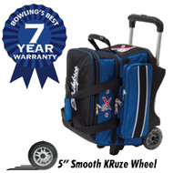 """This KR Royal Flush Double Roller has an outstanding 7 year warranty! This bag also features retaining straps to secure the bowling balls, a vented shoe compartment, and several accessory pockets. Don't miss out on this durable bowling bag today!  Color: Royal/Black7-Year Warranty1680D Ballistic fabric - it's KR Armor!Premium YKK luggage zippersMolded pick-up handlesPremium quality with deluxe featuresRetaining straps to secure bowling ballsVented shoe compartment stores shoes to size 15Separate top accessory pocketAccessory pockets on both sidesRetractable flush locking handle extends to 39""""Dimensions: 14"""" W x 18"""" D x 21"""" H"""