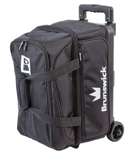 Check out the Brunswick Blitz Double Roller bowling bag! This bag is basic but has everything you need at an affordable price. Not only does this bowling bag carry 2 bowling balls, shoes up to a men's size 17, and accessories but it also has a 5-year limited manufacturer's warranty. Whoa! What more do you need?  Color: BlackRetractable and locking handle system3.5 inch wheelsLarge front zippered pocketHolds up to size 17 men's shoeScreen printed logos600D Fabric5-Year Limited Warranty