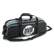 DV8 Tactic Triple Tote is the perfect roller for travel or tournament players. This roller holds only 3 balls and features a transparent top view to view your bowling equipment.  Color: BlackPerfect for travel or tournament playersHolds 3 bowling balls onlyTransparent top viewAdjustable pull strapRubber pull handle for comfortScreen print logo600D Fabric1 year limited manufacturer's warranty