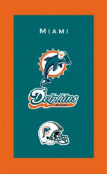 "NFL Miami Dolphins towel.  Colorful designs16"" x 26"" velour towelIndividually packaged"