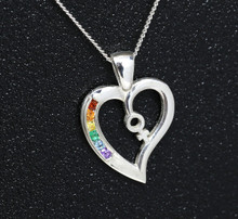 Sterling Silver Female Rainbow Heart pendant set with Semi Precious Natural stones