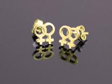 9ct Gold Female Gender Pair Medium Stud Earrings