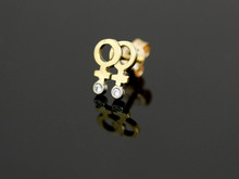 18ct Yellow Gold Female Medium Single Stud Earring - 2 x Diamonds