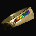 9ct Gold Rainbow Female Ring set with Semi Precious Natural stones