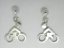 Sterling Silver Mini Bike Drops Earrings 10mm
