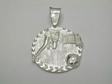 Steling Silver Soccer Medallion 20mm