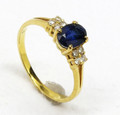 18ct YG ring with Natural Australian sapphire and diamonds