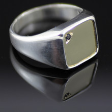 Gents silver ring with 9ct Gold top and blue sapphire