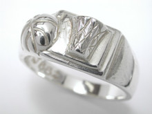 Sterling Silver Basketball Ring Heavyweight Gents 9mm