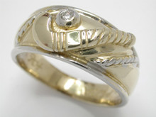 9ct Two Tone Stick & Ball Ring with Diamond