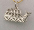 Ster/Silver Small Dragon Boat Charm S-2229