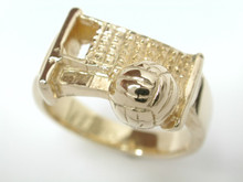 9ct yellow gold Ladies Volleyball Ring 10mm