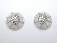 Sterling Silver Basketball Studs Half Dome Earrings 8mm