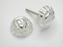Sterling Silver Netball Studs Half Dome Earrings 8mm