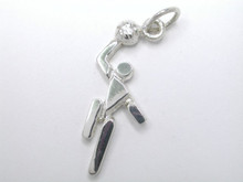 Sterling Silver Small Netball or Basketball Player, Stick Figure Charm 20mm