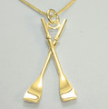 9ct Gold Oars Necklat 40mm on a complimentary chain