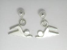 Sterling Silver Mini Swimmer Drops Earrings 10mm