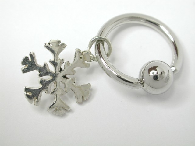 Stainless Stainless Steel Belly Ring With Silver Snowflakes 11mm