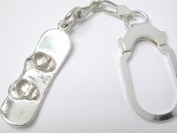 Sterling Silver Model Snowboard Large Solid Key Ring 33mm