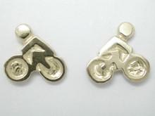 9ct yellow gold Mini Race Bike Studs Earrings 10mm