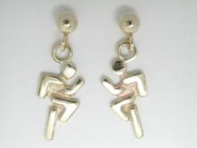 9ct yellow gold Mini Runner Drops Earrings 10mm