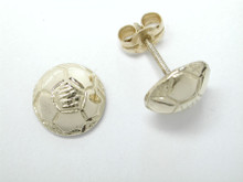 9ct yellow gold Soccer Half Dome Stud Earrings 9mm