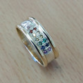 9ct Two tone , ( any mix of colour gold ) Rainbow Pride stones, 8mm wide 1524