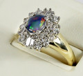 9ct soild Black Opal & Diamond Cluster