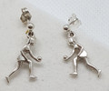 Sporty lawn bowler Drop earrings silver or gold