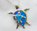 Sterling Silver Created  OpalTurtle Pendant