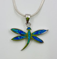 Sterling Silver Created Opal Dragonfly Pendant