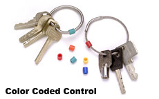 Color Coded Control: Also available, five options of color coding tags that slip easily over the rings providing unique identification and key separation.  Colors: Red, Orange, Yellow, Green, Blue, and Assorted (Orders Come in Packages of 50)