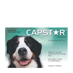 Capstar Flea Tablets for Dogs 26-125 lbs (11.1-57 kg) - Green - 30 Pack (5 Boxes)