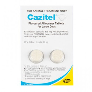 Cazitel Allwormer Tablets for Dogs up to 77 lbs (up to 35 kgs) - 2 Pack