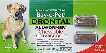 Drontal Allwormer for Dogs up to 77 lbs (up to 35 kgs) - 2 Pack Chewable Tablets