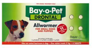 Drontal Allwormer for Dogs & Puppies up to 7 lbs (up to 3 kgs) - 4 Pack Tablets
